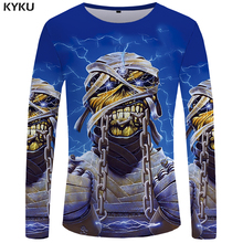 Buy KYKU Iron Maiden Long sleeve T shirt Skull Tshirt Punk Tops Gothic Funny T shirts Clothes Clothing Men Casual Ftness Slim for $7.83 in AliExpress store