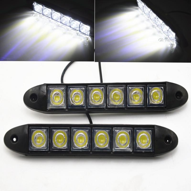 2X Universal White 6 LED Daytime Running Light Fog DRL Benz High power 6000K