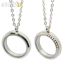 20mm/25mm/30mm/35mm magnetic closure silver czech crystals 316L stainless steel floating memory locket pendant with necklace