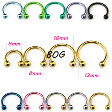 10 Pieces Anodized Circular Barbell Horseshoe Piercing CBB Septum Lip Labret Eyebrow Nose Ring Nipple Piercing Body Jewelry 16g(China)