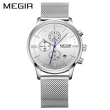 MEGIR Original Mens Watches Top Brand Luxury Stylish Watch Men Stainless Steel Mesh Strap Chronograph Military Quartz Watch
