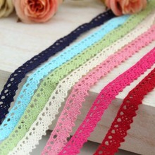 7 color 100% laciness cotton handmade fabric diy multicolour laciness 12mm lace ribbon
