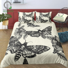 BOMCOM 3D Digital Printing Duvet Cover Set Hand-painted Head Hawk Moth and Flowers Skull Bedding Set 100% Microfiber(China)