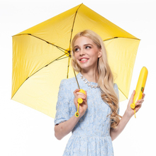 3-folding Banana Umbrella Funny Banana Shaped Clear Rain Umbrellas Gift For Women Kid Child Windproof Folding Umbrellas(China)