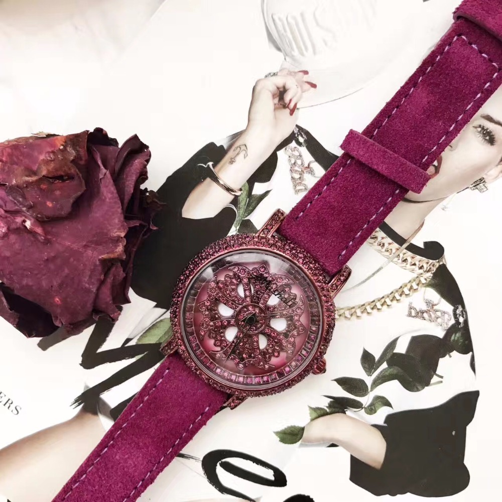New Noble Purple Watch GOOD LUCK Rotational Crystals Fur Leather Watch Vogue Women Turntable Cross Wristwatch Montre Femme W186<br>