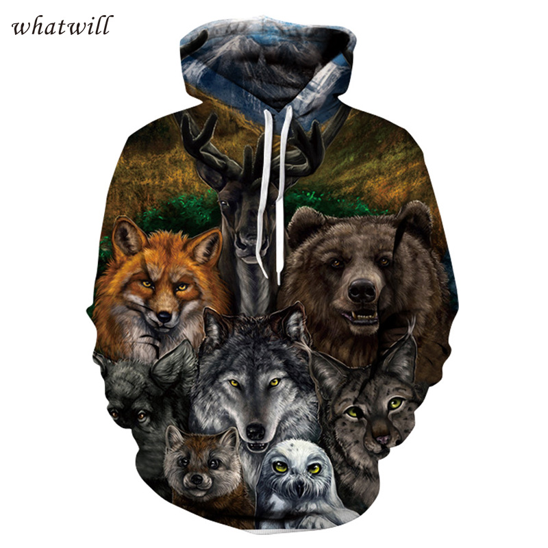3d wolf hoodies & sweatshirts mens hoodies casual sweat homme hoody hip hop sweatshirt printed sudadera hombre
