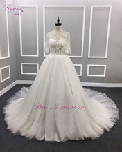 Liyuke Robe De Mariage Backless A Line Princess Wedding Dress Cap Sleeve Bust  Flowers Floor Length Elegant Bridal Dress
