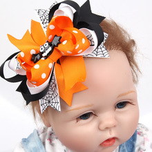 Bat Halloween Punk Hair Bow with Clips for Hair Ghost Pumpkin Color Hair Bow Halloween Hair Accessories Best Friend Holiday Gift(China)