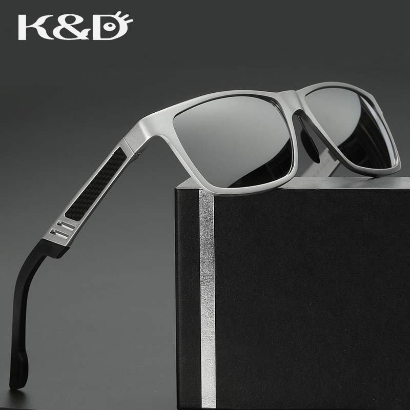 K&amp;D New Man Polarized Sunglasses Mirror Lens Polariod Aluminium Magnesium Alloy Frame UV400 Light Square Shape Glasses<br><br>Aliexpress