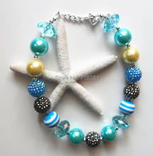 latest blue necklace jewelry chunky AAA beads necklace well welcoming bubblegum necklace for kids/girls/baby jewelry decoration
