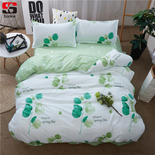 Sookie Green Floral Print Bedding Set Twin Full Queen King Size Duvet Cover Sets Pastoral Style Soft Bedclothes 3pcs Bed Linen(China)