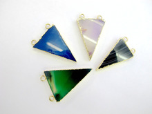 Wholesale Mixed Natural Agat e Arrow Gem stone Jewelry necklace pendant fit Necklace 2loops 10pcs/lot