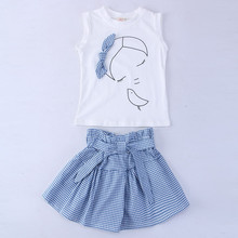 boutique kids clothing white toddler summer baby girl summer top + blue plaid skirt set with bow children girls clothes 7 years(China)