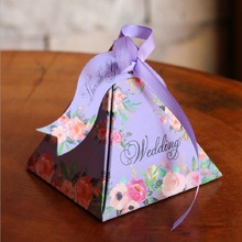 Wedding Decorations Candy Box Floral Candy Box With Ribbon and Card Wedding Favors And Gifts Baby Shower Candy Boxes(China)