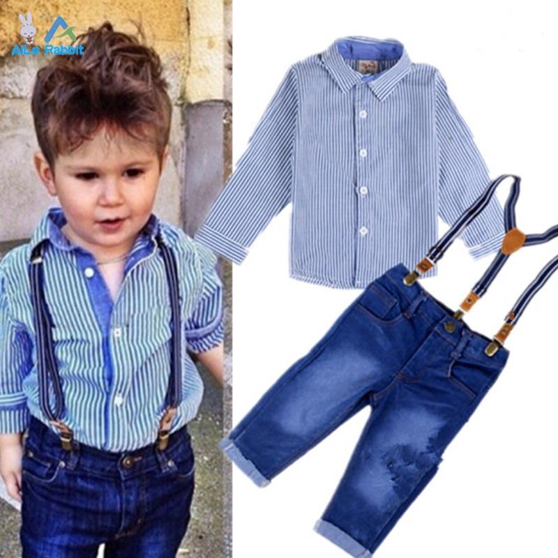 2015 Boys Clothes Suit Gentleman Autumn long-sleeved striped shirt + Strap jeans 2pcs/set baby kids childrens suit denim pants<br><br>Aliexpress