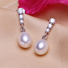 Fashion celebrities natural Pearl Drop Earrings For Women Perfect Pearl With Princess Style Silver Earrings Free shipping