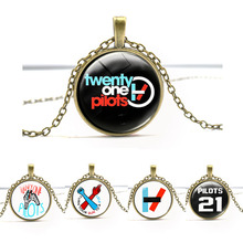 Music Band Twenty One Pilots Art Picture Glass Necklace  Jewelry Long Chain Men Womens Steampunk Necklace Charm