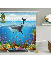 Animal Shower Curtain Whale In Ocean Planet Print For BathroomFabric And Waterproof Decor Bath Shower