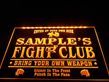 DZ040- Name Personalized Custom Fight Club Bring Your Weapon Bar Beer Neon Sign hang sign home decor  crafts