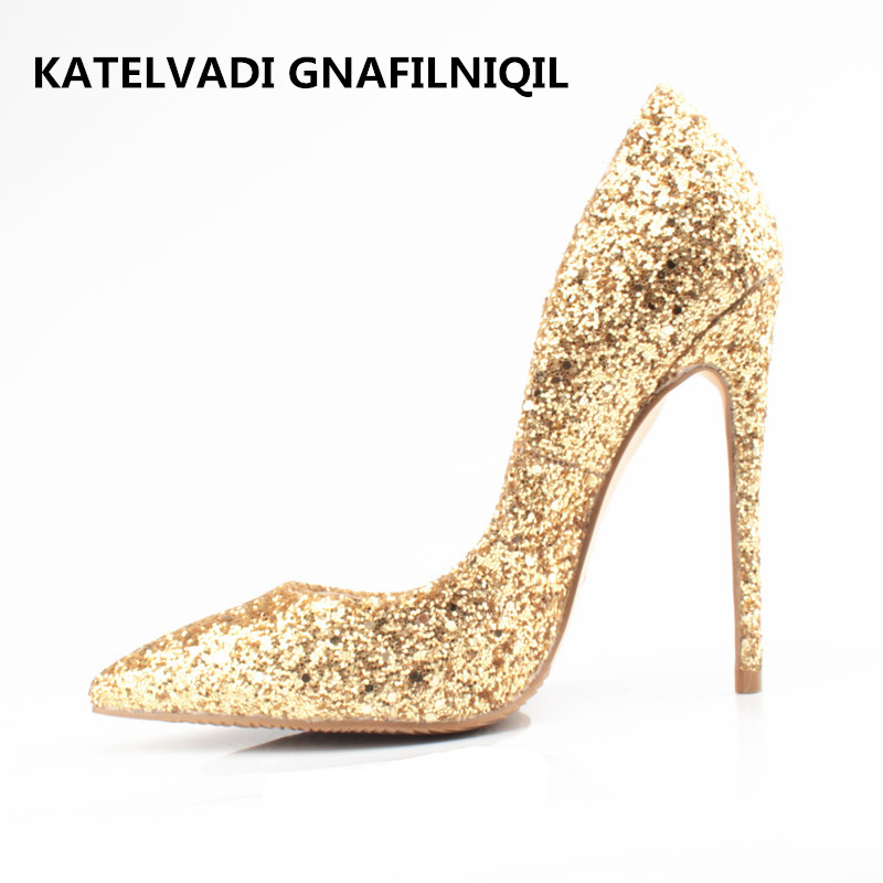 Shoes Woman 12CM High Heels Gold Shoes Women Pumps Pointed Toe Ladies Wedding Shoes Thin Heels Glitter Shoes Zapatos Mujer F-008<br>