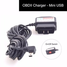 OBDII Charging Cable Mini USB Power Adapter with Switch Button16Pin OBD2 Connector Direct Link Car Charger forTablet E-dog Phone