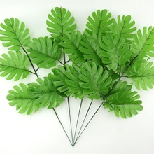 50pcs large Artificial Fake Monstera Palm Tree Leaves Green Plastic Leaf Wedding DIY Decoration Cheap Flowers Arrangement Plant