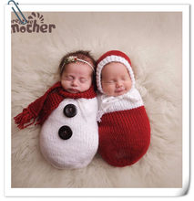 Newborn Boys Girls Photography Props Crochet Knitting Costume Christmas Snowman Hat+Sleeping Bag Studio Baby Photo Accessories(China)