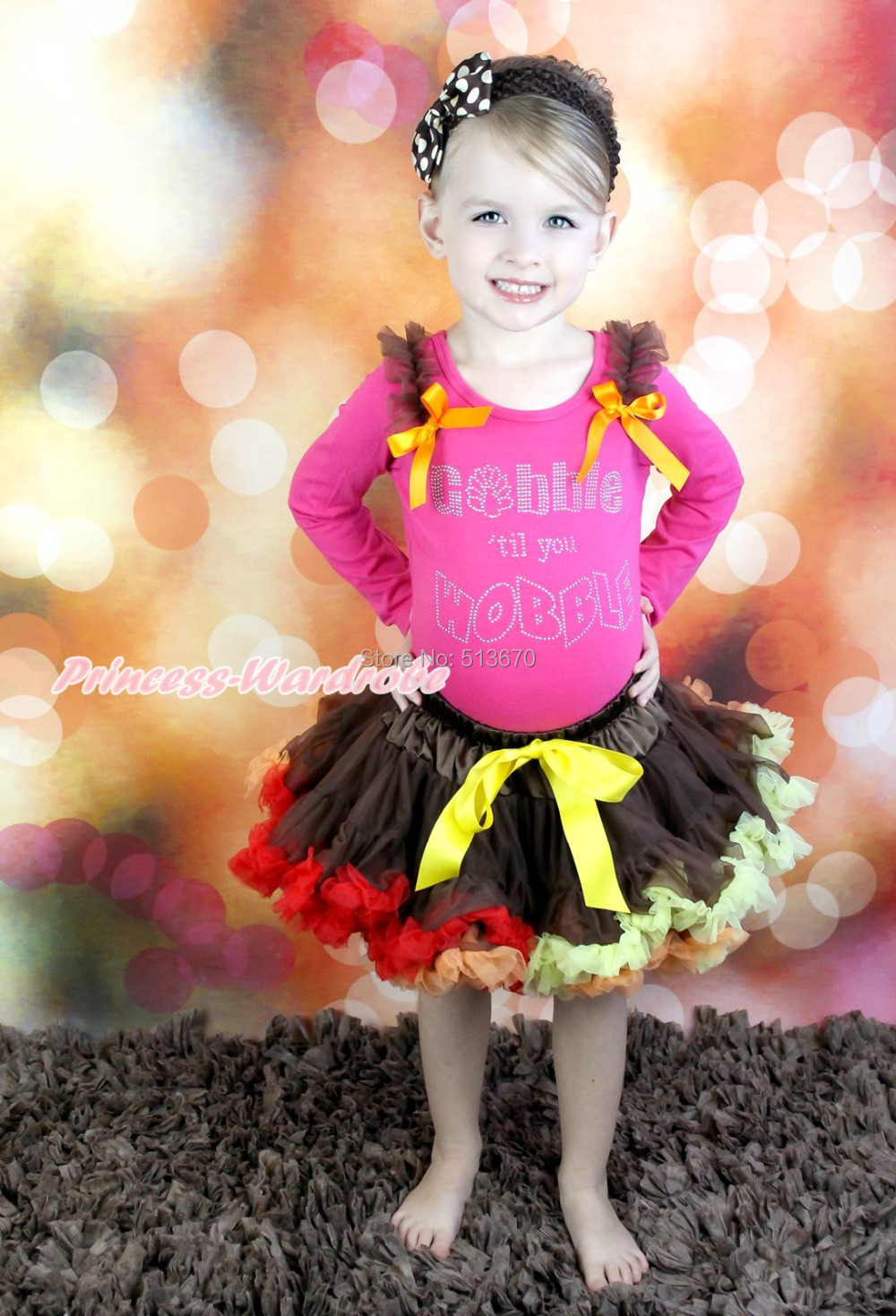 Thanksgiving Rhinestone Gobble Wobble Top Brown Skirt Baby Girl Outfit 1-8Year MAPSA0076<br>