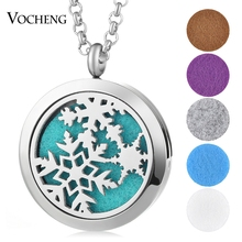 316L Stainless Steel Perfume Locket Snowflake Necklace Pendant Christmas Magnetic Randomly Send 5pcs Oil Pads as Gift VA-269(China)