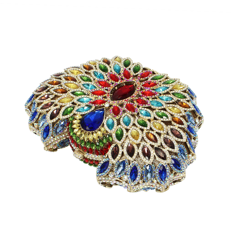 Newest design feathers multi color bling crystal clutch  ladies evening bags purse chain diamond party handbags (88183A-DB)