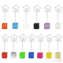 Color cube stand star wire card note picture memo photo clip holder,table place favor,customized promotional party wedding gift(China)