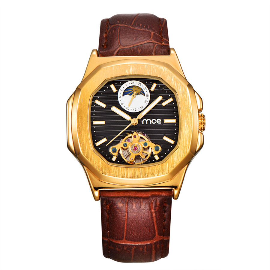 Classic Tourbillon Design Mens Watches Top Brand Luxury Automatic Watch Golden Case Calendar Male Clock Black Mechanical Watch<br>