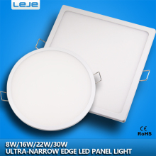 Ultra-narrow edeg led round square panel light led downlight small&thin conceal driver with snap-fit design 8w 16w 22w 30w
