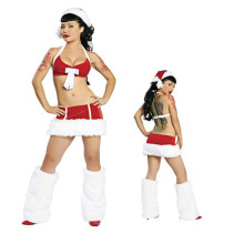 Buy Hot Sale Sexy Santa Claus Costume Naughty Women Red Halter Lingerie Miniskirt Hat Christmas Party Disguised Santa Outfit