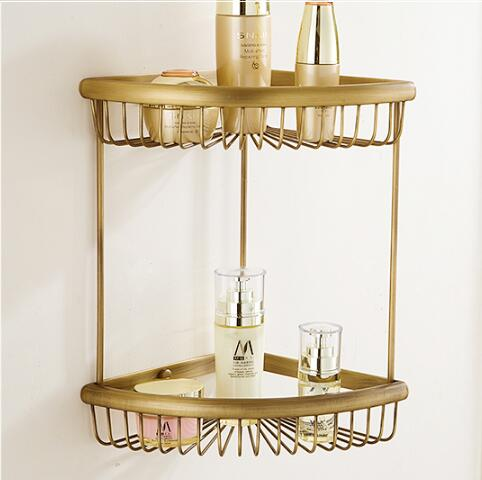 Wall Mounted Copper Bathroom Soap Dish Antique Two Tier Bath Shower Shelf Bath Shampoo Holder Basket Holder Corner shelf<br>
