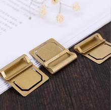 Retro copper bookmark Metal brass Index clamp Label clip stationery gift paper clips 6pcs/card memo clips