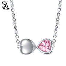 SILVERAGE Pink Crystal Hearts Necklace Real 925 Sterling Silver Necklaces & Pedants Love Gift Elegant for Party with Box