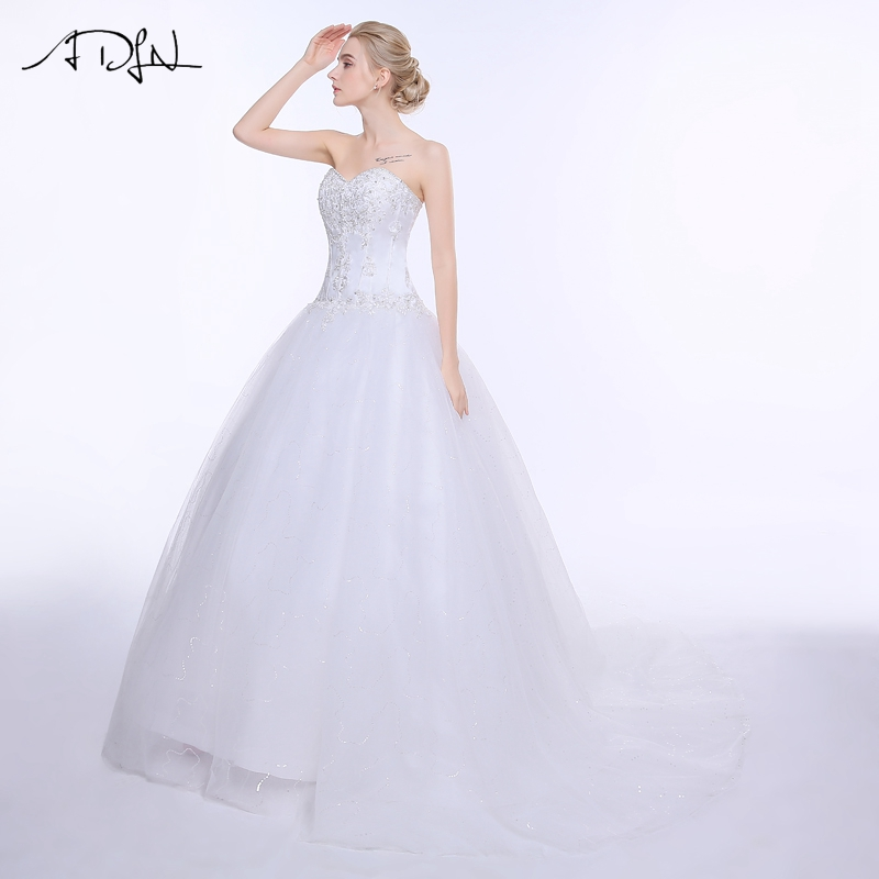 ADLN Wedding Dresses Vestidos de Novia Off the Shoulder Sweetheart Tulle Long Bride Dress Lace Up Back Plus Size In Stock 15