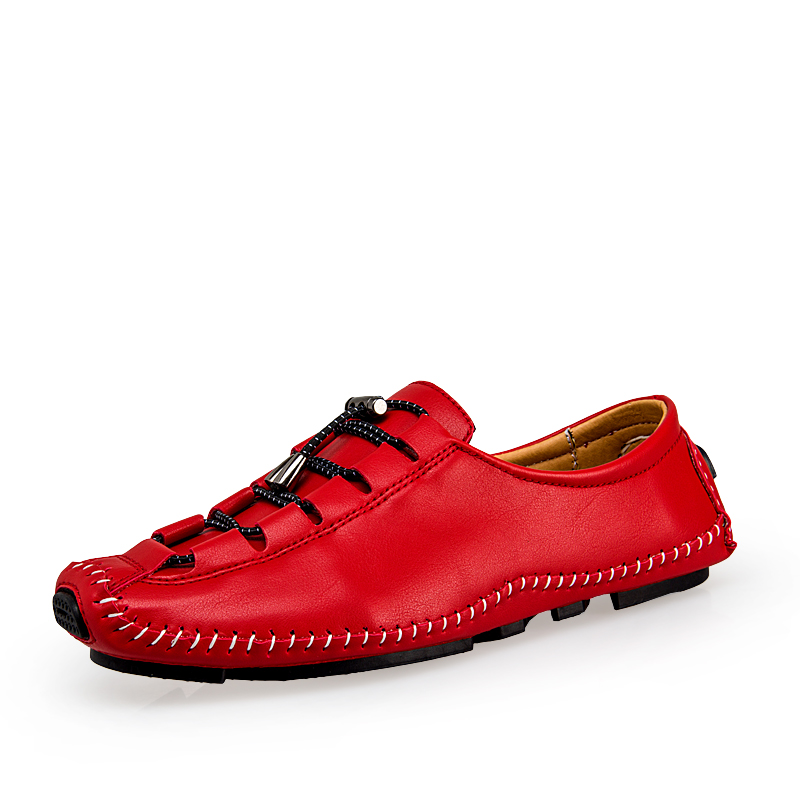 Spring Autumn Single leather Soft sole Men's Loafers, retro Casual Style Shoes,Handmade Vintage Male Moccasins Classical red