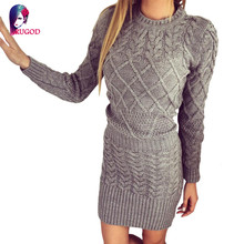 Fashion Winter 2016 Women Sweater Dress Women Clothes Ladies Long Sleeve Knitted Bodycon Stretch Brief Casual Dress Beige Gray(China)