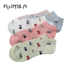 CAT Warm comfortable cotton bamboo fiber girl women's socks ankle low female invisible  color girl boy hosier 1pair=2pcs WS79