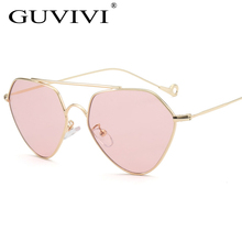 Blue tinted Sunglasses Women men Green thin metal yellow clear sun glasses for women gold frame uv400 Pink sunglasses women(China)