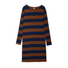 New Autumn Women dress Loose O-Neck Long Cotton Hip Base Dresses Khaki Black And White Stripes 8802(China)