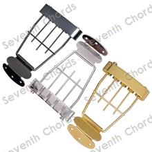 A Set Trapeze 4 String Archtop Tailpiece Bridge for Hollow Semi Hollow Bass Guitar With Wired Frame - Chrome & Black & Gold