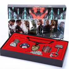 6pcs/set Avengers Age of Ultron Cosplay Weapons Thor Hammer Necklace Metal Figure Model Collectible(China)