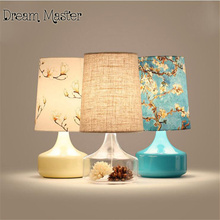 Nordic brief printed desk lamp bedroom bedside pastoral personality creative decoration transparent glass table lamp(China)
