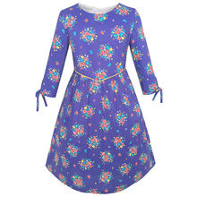 Sunny Fashion Girls Dress Purple Flower 3/4 Sleeve Princess Party Dress Cotton 2018 Summer Wedding Dresses Clothes Size 4-12(China)