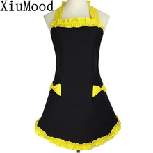 XiuMood Cute Court Princess Black Cotton Cloth yellow Lace Apron Gift For Woman Kitchen Garden Cleaning Accessories