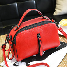 BARHEE 2017 Women Tote Bag Fashion Women Handbag pu Leather Small Flap Doctor Messenger Bags Saddle Solid Black Red Pink Green(China)