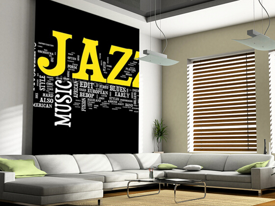 Custom 3 d wall murals wallpaper, Jazz Music used in the KTV bar sitting room background wall PVC papel de parede<br>